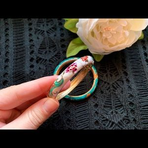 Jewelry - pair of Japanese bangles - teal and white